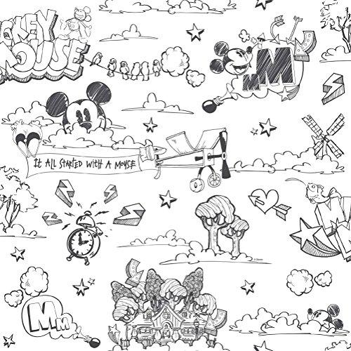 Dandino MK 3014 – 1 Wallpaper with Mickey Graffiti Design, Grey, 60 x 18 x 18 cm