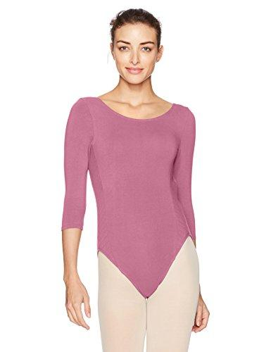 Danskin Women's Quilted Side Splice 3/4 Sleeve Leotard, Mauve, Petite