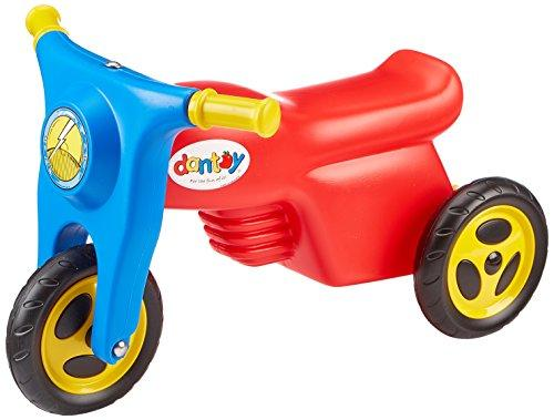 Dantoy Kids Sit & Ride Motorcycle, Push Along Scooter with Rubber Wheels and Trailer Tow Bar, Made in Denmark