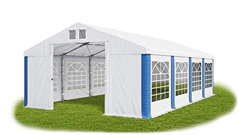 Das Company Marquee 5x8m fireproof waterproof white-blue Heavy-Duty PVC 620g/m² Tarpaulin All Seasons Gazebo with steel wire ropes Winter Plus FR
