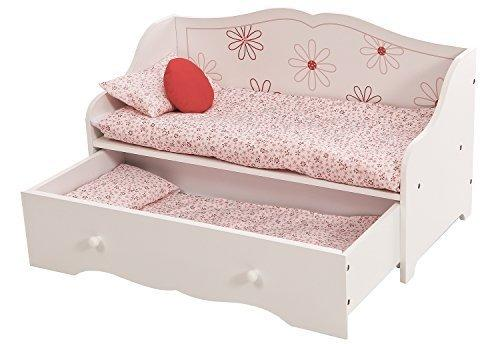 "Daybed and Trundle Fits American Girl Dolls | Stylish Floral 18"" Inch Doll Furniture 