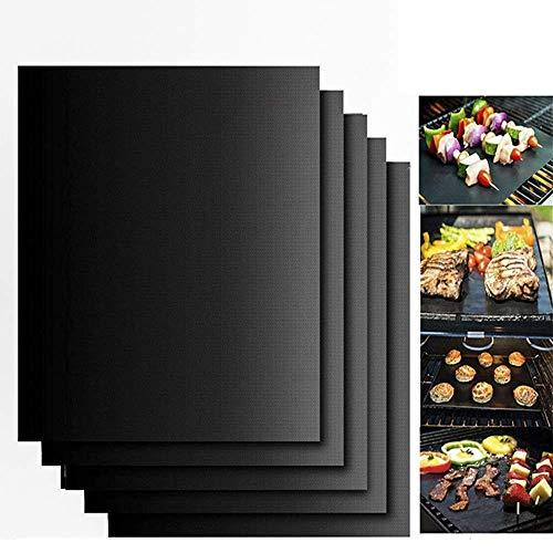 DE BBQ Grill Mat Set of 5 - Non Stick Oven Liner Teflon Cooking Mats - Perfect for Baking on Gas, Charcoal, Oven and Electric Grills - Reusable, Durable, Heat Resistant Barbecue Sheets