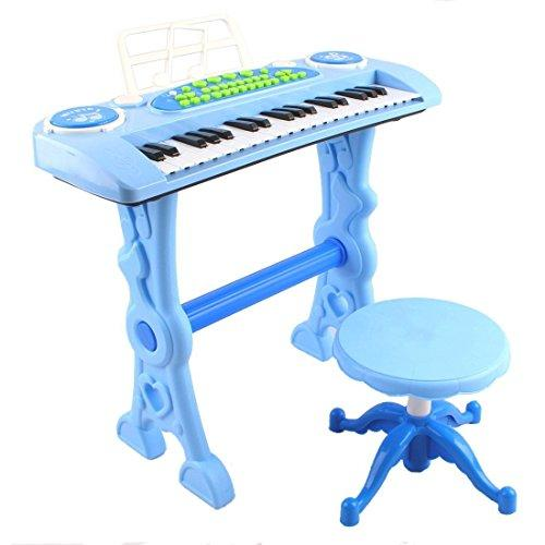 deAO Blue 37 Key Electronic Piano Karaoke Keyboard with Microphone, Stool and Sound features