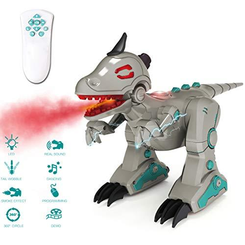 deAO RCID-G RC Intelligent Dinosaur Robot with Smoke Effect Lights and Sounds Infrared Remote Control Electronic T-Rex Toy (Grey)