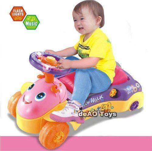 deAO Toys 2in1 Baby Walker and Push Power Ride On Car with Shape Sorter, Light and Sound Effects