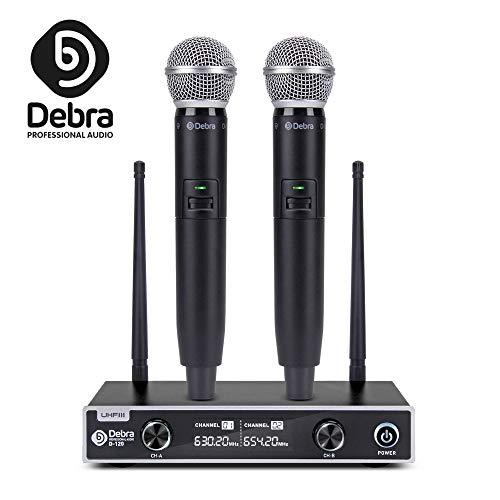 Debra audio D-120 UHF Wireless Microphones System with Screen Display Dual Channel Handheld Micrs Karaoke Mixer for outdoor wedding, Conference, Karaoke,Church,Speech, Evening Party (EU plug)