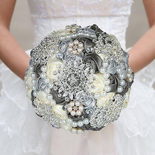 Decdeal Wedding Bouquet, Bridal Wedding Flowers 18cm Handmade Diamond Satin Rose Flower with Rhinestone Artificial Pearls Beads