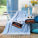 DecoKing 110x160 cm Soft Snug Fleece Microfibre Blankie with a Bag Travel Blanket for Kids Children Childrens Baby Cot Car Play Toy Sweet Colourful Owl Motives Warm Blankets Gift Light Blue