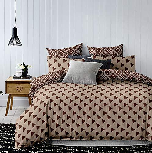 DecoKing Premium 91982 Bed Linen Set with 2 Pillow Covers Geometric Triangle Bedding Set Microfibre Beige/Brown, 220 x 200 x 1 cm