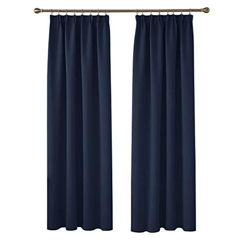 Deconovo Nursery Curtains Thermal Insulated Blackout Curtains Pencil Pleat Curtains and Rod Pocket Curtains for Bedroom with 2 Tiebacks 140x245cm 2 Panels Navy Blue