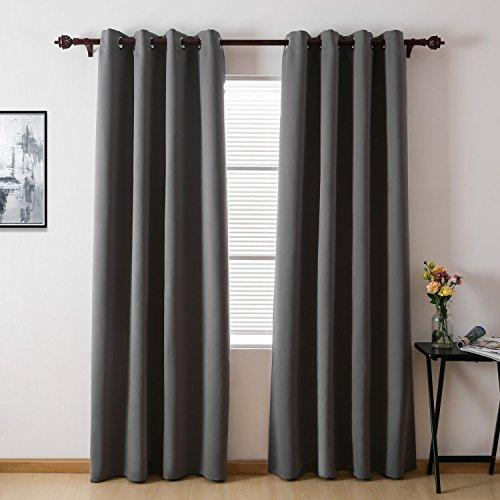 Deconovo Window Treatment Super Soft Eyelet Blackout Curtains for Nursery with Two FREE Tiebacks 52 x 90 Drop Inch Grey Two Panels