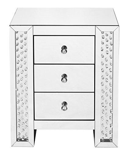 "Decor Central ADMFX9-3018 Crystal Bedside Table with 3 Drawers and Rectangle Mirror Top, 22"", Clear Finish"