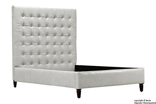 decur Grace Upholstered Leather Bed 165cm Tall 5'0 King Size - White
