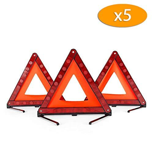 DEDC 15 Pack Warning Triangle Foldable Safety Triangle Triple Warning Kit Warning Triangle Reflector Roadside Hazard Sign Triangle Symbol for Emergency with Storage Bag