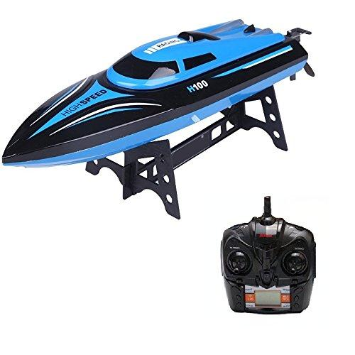 DeeXop Rc Boat H100 2.4Ghz 4CH Remote Control Electric Racing Boat High Speed Boats with LCD Screen for Adults Kids (Only Works in Water)