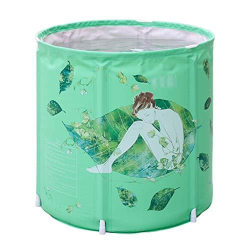 Defeng Bath Barrel Adult Household Folding Bath Barrel Full Body Bath Barrel Thickened Bath Barrel Three-layer Quilted Long Holding Time (Color : GREEN, Size : 65 * 70CM)
