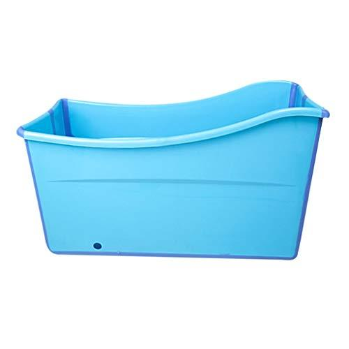 Defeng Bathtub Folding Adult Body Plastic Bathing Barrel For Adults Adult Children's Padded Tub Bathing Tub Convenient For Storage (Color : BLUE, Size : 98 * 51 * 54CM)