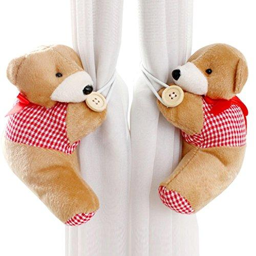 DEHANG Lovely Fluffy Cartoon Bear Holdback Tieback Holder Curtain Buckle - Red