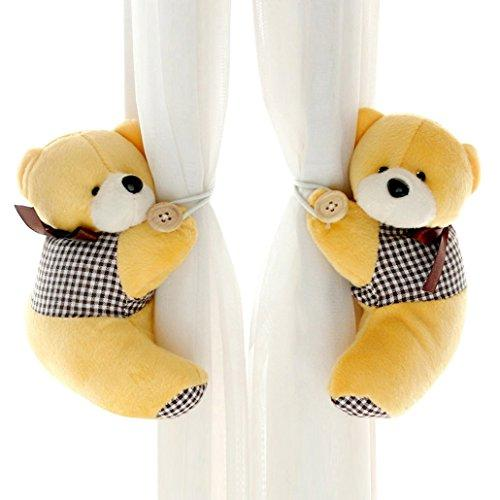 DEHANG Lovely Fluffy Cartoon Bear Holdback Tieback Holder Curtain Buckle - Yellow 1