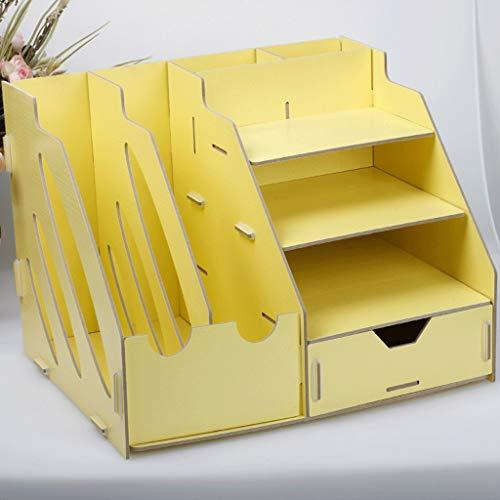 DEI QI Office Table Storage Rack Office Supplies Desktop Storage Boxes Shelves Folder Storage RackDesk File Organiser (Color : Yellow)