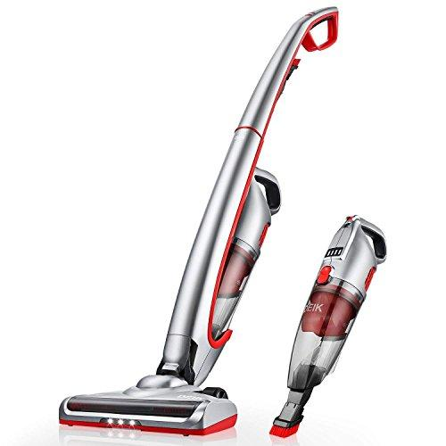 Deik Vacuum Cleaner, Cordless Vacuum Cleaner, 2 in 1 Lightweight Handheld Stick Vacuum with LED Light, Bagless, Long Lasting - Silver
