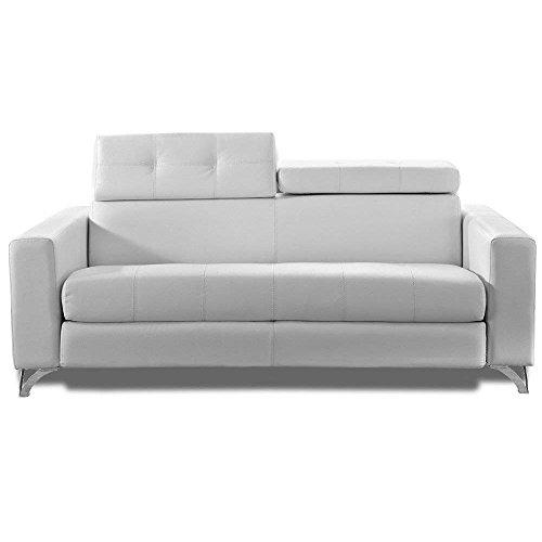 DELANO RAPIDO Sofa Bed 140 cm Cow Leather Bed Slats LAMPOLET White