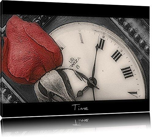 delicate red rose on black antique clock / white on canvas, huge XXL Pictures completely framed with stretcher, Art print on wall picture with frame, cheaper than painting or an oil painting, not a poster or banner size: 120x80 cm