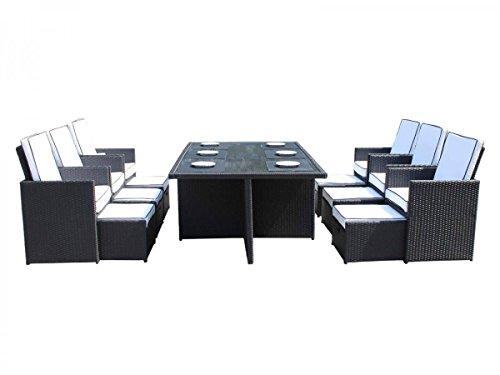 Deluxe 13 Piece Rattan Garden Furniture Barcelona Cube Set with Footstools and Outdoor Cover in Black