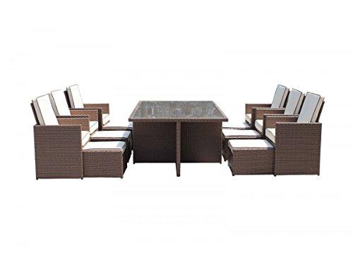 Deluxe 13 Piece Rattan Garden Furniture Barcelona Cube Set with Footstools and Outdoor Cover in Brown
