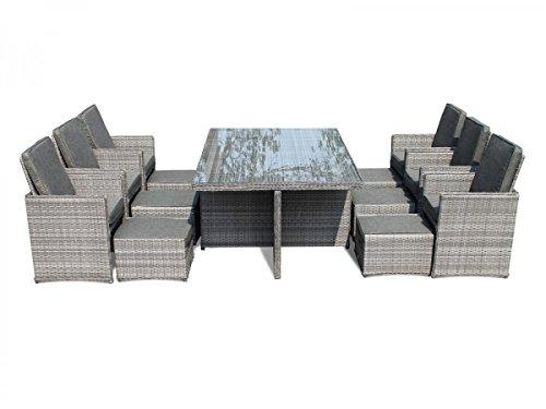 Deluxe 13 Piece Rattan Garden Furniture Barcelona Cube Set with Footstools and Outdoor Cover in Grey