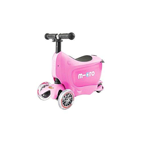 Deluxe Mini 2 Go 3 in 1 Pink Mini Micro 3 Wheeled Scooter Adjustable Ride On with Seat O Handle Bar Storage Drawer for Girls Boys Kids Children 18 months up