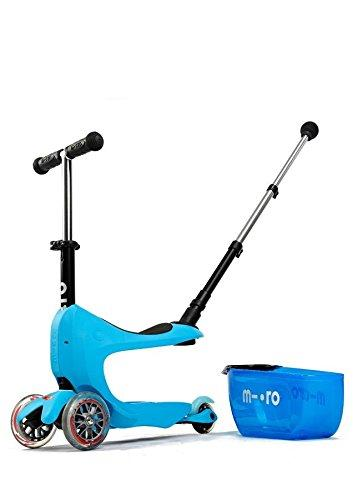 Deluxe Plus Mini 2 Go 3 In 1 Blue Mini Micro 3 Wheeled Scooter Adjustable Ride On With Seat O Handle Bar Storage Drawer For Girls Boys Kids Children 18 Months - 5 Years