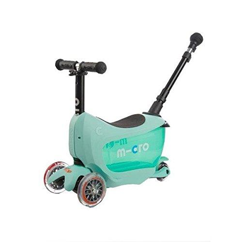 Deluxe Plus Mini 2 Go 3 In 1 Mint Mini Micro 3 Wheeled Scooter Adjustable Ride On With Seat O Handle Bar Storage Drawer For Girls Boys Kids Children 18 Months Up