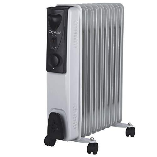 Denny Shop 5 7 9 & 11 Fin Oil Filled Radiator 240V Electric Portable Heater With Timer & 3 Heat Setting Thermostat by Crystals® (9 Fins 2000W)
