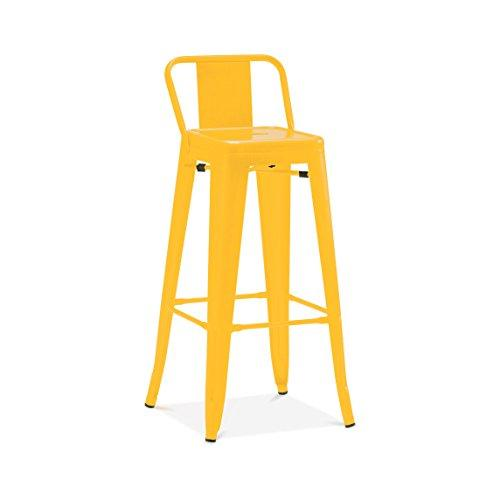 Design Lab MN Dreux Glossy Yellow Steel Low Back Barstool 30 Inch (Set of 4), Gray