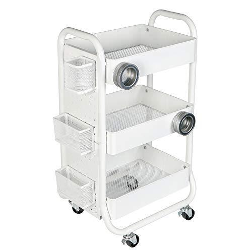 DESIGNA 3-Tier Metal Rolling Storage Cart with Utility Handle and Extra Storage Accessories Ideal for Bedroom Kitchen Bathroom Garage Office Arts and Crafts or Nursery White