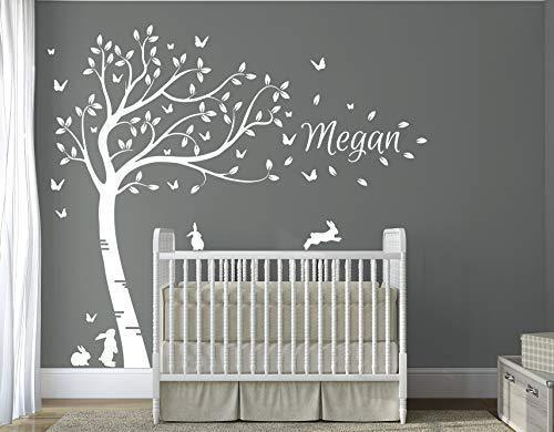 DesignDivils Personilised Name with Full Size Beautiful Bunny Rabbits Tree Nursery Room Wall Decal Sticker DD007 (White)