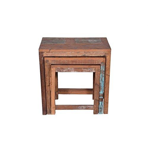 Designe Gallerie Wooden Nesting Table Three, Living Room, 3 Piece Furniture Set, Rustic Look-Natural, Wood Brown