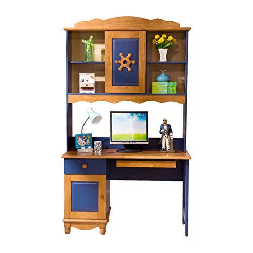 Desks Children's Computer Study Table With Bookshelf Bookcase Solid Wood Bedroom Study Children's 120cm Blue Chairs (Color : Blue, Size : 121 * 56 * 205cm)