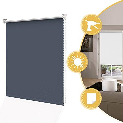 Deswell Thermal Blackout Roller Blinds for Windows 120 x 160 cm Trim able, Dark blue Easy Fix