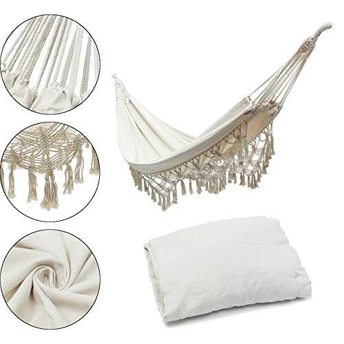 DGJEL New Hammock Chairs Swing Outdoor Garden Home White Cotton Rope Morocco Chairs Swing Yard Leisure Hanging Bed,2