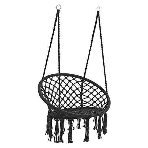 DGJEL Round Hammock Round Hammock Swing Hanging Chair Outdoor Indoor Furniture Hammock Chair for Garden Dormitory Child Adult,Black,United States
