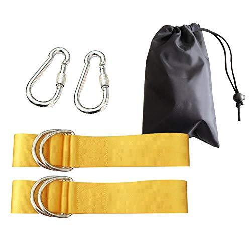 DGJEL Safety Swing Handing Rope Swing Hammock Hanging Kit Straps With Heavy-Duty Hooks for Outdoor(Yellow/5x120cm)
