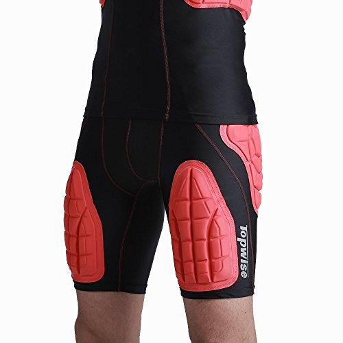 DGYAO 3D Men's Safe Guard Padded Compression Sports Protective Shirt Chest Ribs Shoulder Protector Padded Sport Shirt for Rugby Basketball Football Paintball Cycling and Other Contact Sports (Red Short, XL(165-187lb))