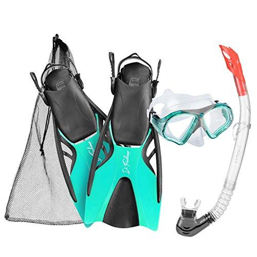 Di Ficchiano Bahamas Unisex Snorkelling Set – Snorkel + Goggles + Fins, Adult (Unisex), Df-msf, turquoise