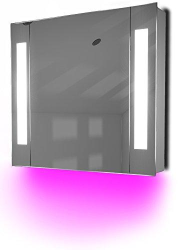 Diamond X Collection Ambient Bathroom Mirror Cabinet With Sensor & Internal Shaver Socket K17P