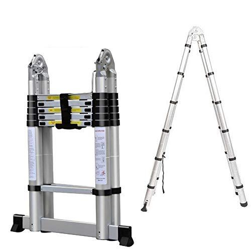 dicn 3.8M 12.5ft Telescopic Ladders A Frame (1.9+1.9 Meter) Extending Folding Steps 150kg 330lb Capacity Aluminium Portable Multi Function for Home Loft Office Roof Work DIY Builder Indoor Outdoor