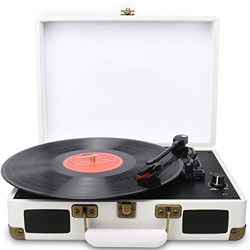 DIGITNOW! Turntable Record Player 3 Speeds with Built-in Stereo Speakers, Supports USB / RCA Output / Headphone Jack / MP3 / Mobile Phones Music Playback,Suitcase Design