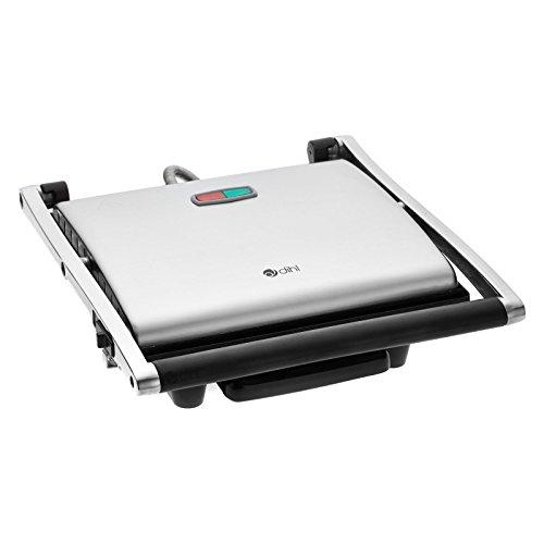 Dihl KA-PG04-BSS 4-Slice Stainless Steel Sandwich Press Contact Panini Maker Health Lean Low Fat Grilled Toaster, Large, 2000 W, Silver