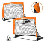 Dimples Excel Portable Football Goal Instant Set-Up, Easy Fold-Up, 40 Inch x 29 Inch x 30 Inch, Set of 2(Orange)
